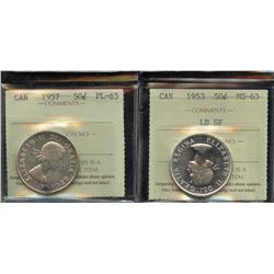 1953 & 1957 ICCS Graded Fifty Cents
