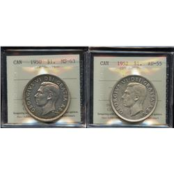1950 & 1952 ICCS Graded Silver Dollars