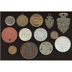 Miscellaneous Canadian & American Advertising Tokens. Lot of 13