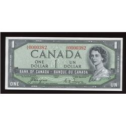 Bank of Canada $1, 1954 Devil's Face - Low Serial Number