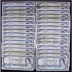 Bank of Canada $1, 1954 Devil's Face - Lot of 30
