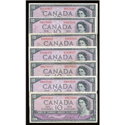 Bank of Canada $10, 1954 Devil's Face Lot of 7 Notes
