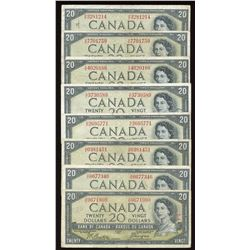 Bank of Canada $20, 1954 Devil's Face Lot of 8 Notes