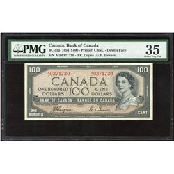 Bank of Canada $100, 1954 Devil's Face Radar - Rare