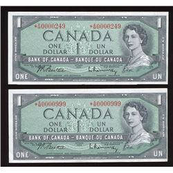 Bank of Canada $1, 1954 - Low Numbered Replacement Note Pair