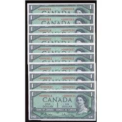 Bank of Canada $1, 1954 - Lower Serial Numbered Replacement Lot