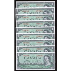 Bank of Canada $1, 1954 - Lot of 9 Notes