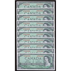 Bank of Canada $1, 1954 - Lot of 10 Consecutive Banknotes