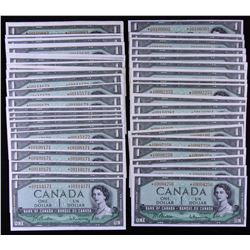 Bank of Canada $1, 1954 - Lot of 60 Replacement Notes