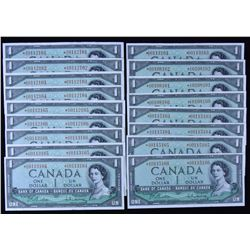 Bank of Canada $1, 1954 - Lot of 17 Replacement Notes