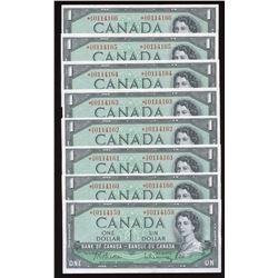 Bank of Canada $1, 1954 - Lot of 8 Consecutive Banknotes