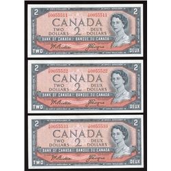 Bank of Canada $2, 1954 - Lot of 3 Notes