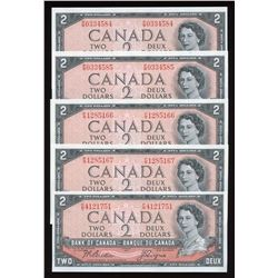 Bank of Canada $2, 1954 - Lot of 5 Notes