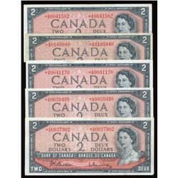 Bank of Canada $2, 1954 - Lot of 5 Replacement Notes