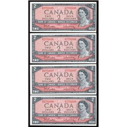 Bank of Canada $2, 1954 - 5 Consecutive