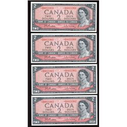 Bank of Canada $2, 1954 - 4 Consecutive Replacement Notes