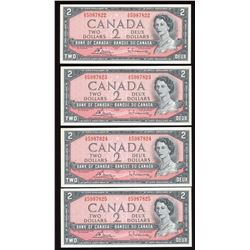 Bank of Canada $2, 1954 - 4 Consecutive Notes