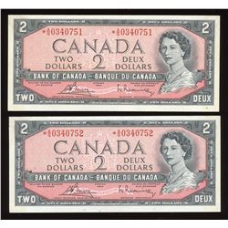 Bank of Canada $2, 1954 Replacement Consecutive Pair
