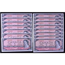 Bank of Canada $2, 1954 - 15 Consecutive Notes