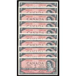 Bank of Canada $2, 1954 - 10 Consecutive Notes