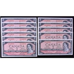 Bank of Canada $2, 1954 - Lot of 11 Notes