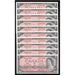 Bank of Canada $2, 1954 Birth Year Serial Numbered Notes