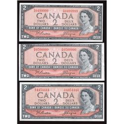 Bank of Canada $2, 1954 Interesting Serial Numbers