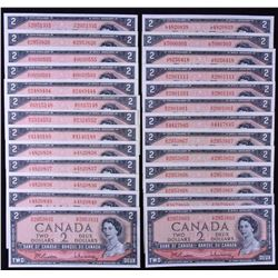Bank of Canada $2, 1954 - Lot of 26