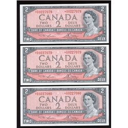 Bank of Canada $2, 1954 - 3 Consecutive Replacement Notes