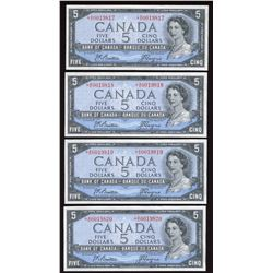 Bank of Canada $5, 1954 - 4 Consecutive Replacement Notes