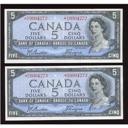 Bank of Canada $5, 1954 - 2 Consecutive Replacement Notes