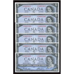Bank of Canada $5, 1954 - Lot of 12 Replacement Notes