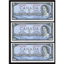Bank of Canada $5, 1954 - Lot of 3 Consecutive