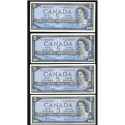 Bank of Canada $5, 1954 - Lot of 4 Replacement Notes