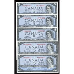 Bank of Canada $5, 1954 - Lot of 5 Replacement Notes