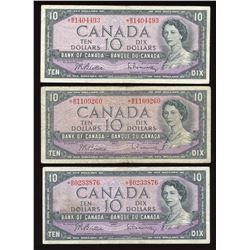 Bank of Canada $10, 1954 Replacement - Lot of 3