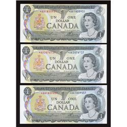 Bank of Canada $1, 1973 Replacement Lot of 3