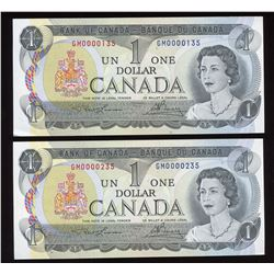 Bank of Canada $1, 1973 - Low Serial Number Pair