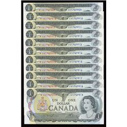 Bank of Canada $1, 1973 - Lot of 11 Consecutive Replacement Notes