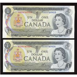 Bank of Canada $1, 1973 Lot of 2 Consecutive Replacement Notes
