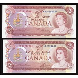 Bank ofCanada $2, 1974 - Lot of 2 Replacement Notes
