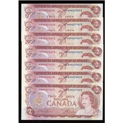Bank ofCanada $2, 1974 - Lot of 7 Replacement Notes