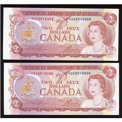 Bank of Canada $2, 1974 Lot of 2 Consecutive Replacement Notes