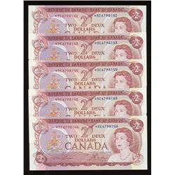 Bank of Canada $2, 1974 Lot of 5 Consecutive Replacement Notes