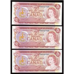 Bank of Canada $2, 1974 Lot of 3 Consecutive Replacement Notes