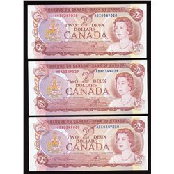 Bank of Canada $2, 1974 Replacement Notes - Lot of 3 Consecutive