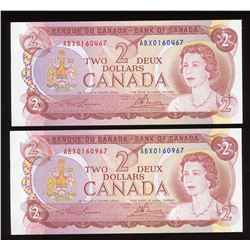 Bank of Canada $2, 1974 Replacement Notes - Lot of 2