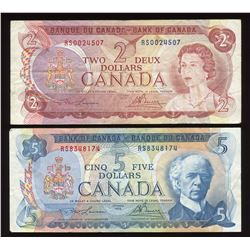 Bank of Canada $2 & $5 RS Test Notes