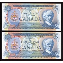 Bank of Canada $5, 1972 - Lot of 2 Consecutive Replacement Notes