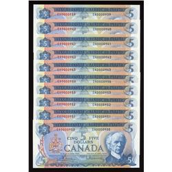 Bank of Canada $5, 1972 Low Serial Numbered Lot of 10 Notes